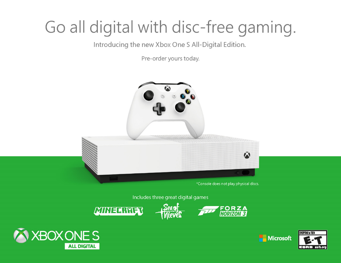 Microsoft confirma Xbox One S All-Digital y Game Pass Ultimate